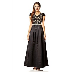 Quiz - Black lace cap sleeve full maxi dress