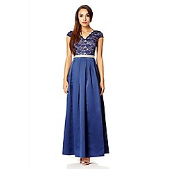 Quiz - Navy lace cap sleeve full maxi dress