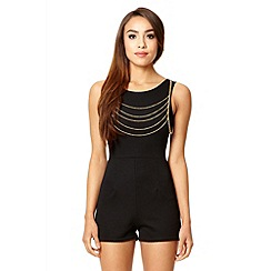 Quiz - Black textured gold chain playsuit