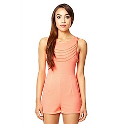 Quiz - Coral textured gold chain playsuit