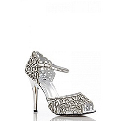 Quiz - Silver flower diamante sandals