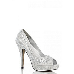 Quiz - Silver triangle diamante platform shoes