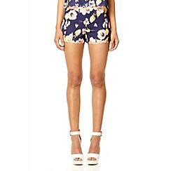 Quiz - Navy flower laser cut scallop shorts