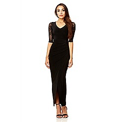 Quiz - Black wrap over front lace sleeve maxi dress