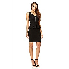 Quiz - Black diamante zip front peplum dress