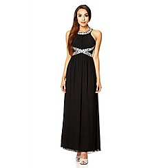 Quiz - Black embroidered open back strap maxi dress