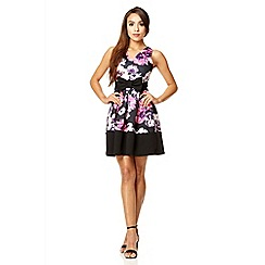 Quiz - Black floral print skater dress