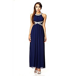 Quiz - Navy embroidered open back strap maxi dress
