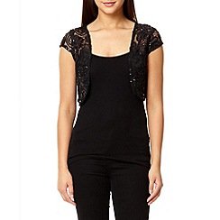 Quiz - Black sequin mesh embroidered shrug