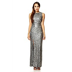 Quiz - Grey sequin zig zag split maxi dress