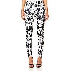 Quiz - Cream crepe flower print trousers