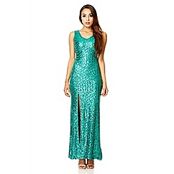 Quiz - Green sequin zig zag split maxi dress