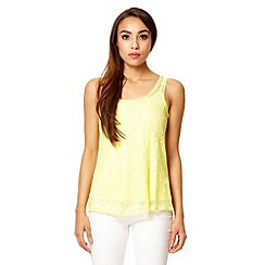Quiz - Lemon lace zip back top