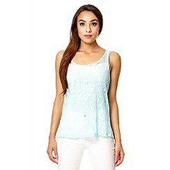 Quiz - Aqua lace zip back top