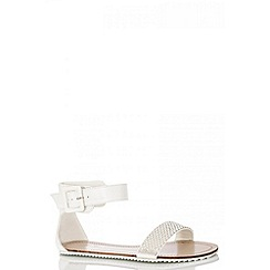 Quiz - White pearl and diamante strap sandals