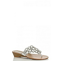 Quiz - Silver diamante flower low wedge sandals