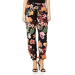 Quiz - Black floral print harem trousers