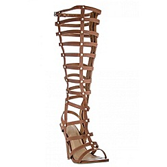 Quiz - Tan calf length high heel gladiator sandals