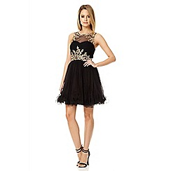 Quiz - Black embellished mesh prom dress