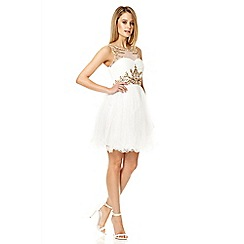 Quiz - White embellished mesh prom dress