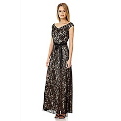 Quiz - Black lace bardot maxi dress