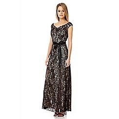 Quiz - Black lace bardot maxi dress