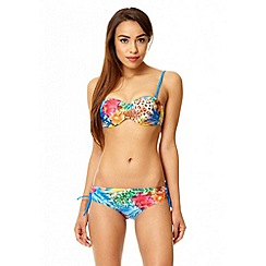 Quiz - Royal blue diamante tropical print bikini