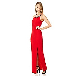 Quiz - Red high neck split front maxi dress