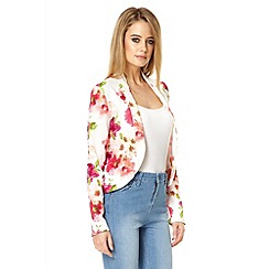 Quiz - White flower long sleeve blazer