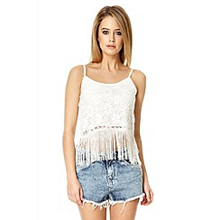 Quiz - Cream lace fringe strap vest top