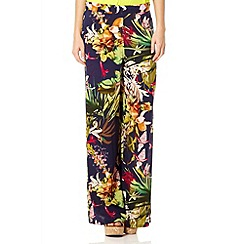 Quiz - Navy jungle palazzo trousers