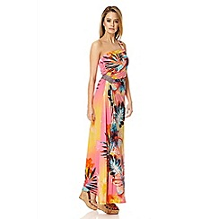 Quiz - Orange Hawaii print embellished maxi dress