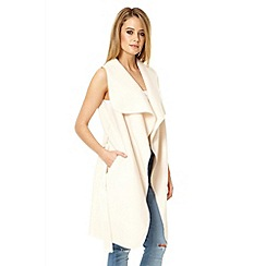 Quiz - Beige felt sleeveless belt blazer