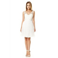 Quiz - White lace top mesh prom dress