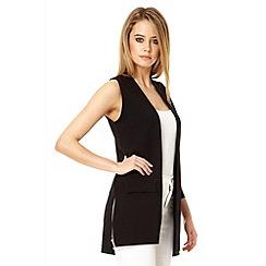 Quiz - Black crepe long sleeveless waistcoat