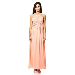 Quiz - Coral embroidered open back strap maxi dress