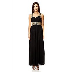 Quiz - Black chiffon embroidered maxi dress