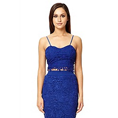 Quiz - Royal blue lace zip back crop top