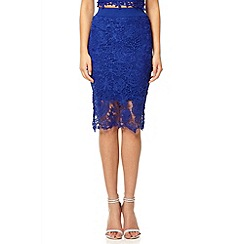 Quiz - Royal blue lace zip back midi skirt