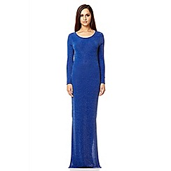 Quiz - Royal blue brillo split maxi dress