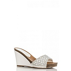 Quiz - White diamante mule wedges