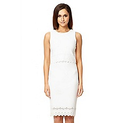 Quiz - White crepe laser cut bodycon dress