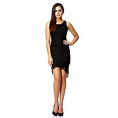 Quiz - Black lace sleeveless tail dress