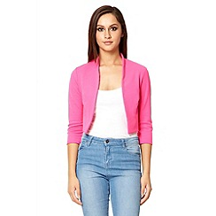Quiz - Hot pink 3/4 sleeve crop jacket