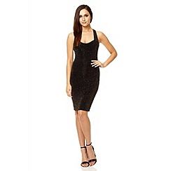 Quiz - Black brillo cross over back dress