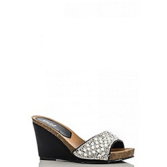 Quiz - Black diamante mule wedges
