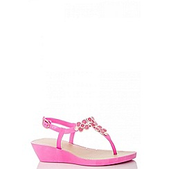 Quiz - Pink glitter flower wedges
