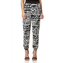 Quiz - Black tribal print harem trousers