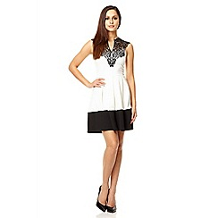 Quiz - Cream lace neck trim skater dress