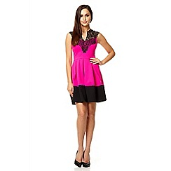 Quiz - Bright pink lace neck trim skater dress